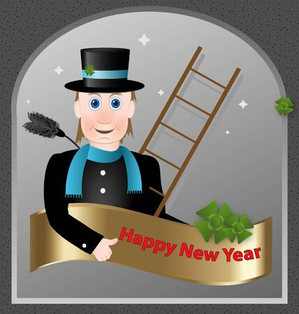 cloverleaves: Illustration of a Happy New Year greeting card with the chimney-sweep and cloverleaves