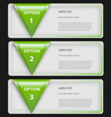 Design of presentationoption template with three empty text boxes Illustration