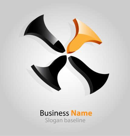 originally: Originally designed abstract glossy 3D logo