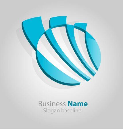 Originally designed abstract glossy 3D logo Illustration