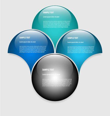 Elegante presentatie / option sjabloon met vier lege tekstvakken Stockfoto - 16445863