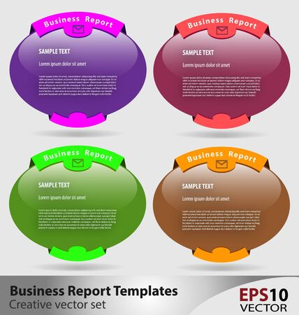 Creative set of multicolor business report templates Stock Vector - 16466418