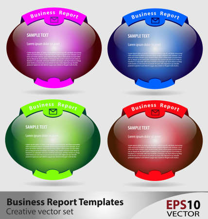 Creative set of multicolor business report templates Stock Vector - 16466419
