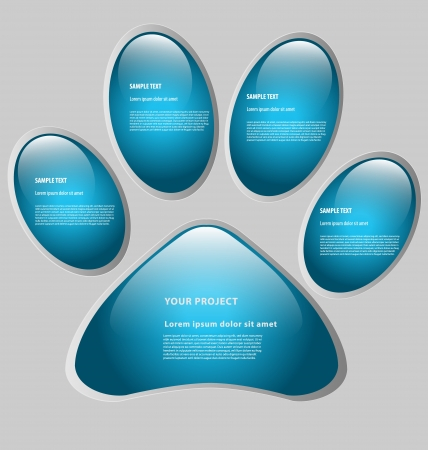 Paw print-shaped presentation/option template with five empty text boxes Stock Vector - 16525238