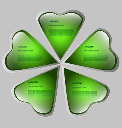 Cloverleaf-shaped presentationoption template with five empty text boxes Vector