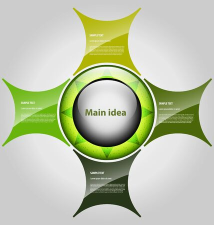 Elegant presentationoption template with five empty text boxes Illustration