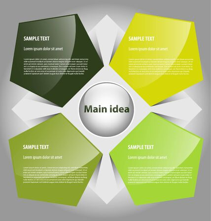 Presentation template with  text boxes Illustration