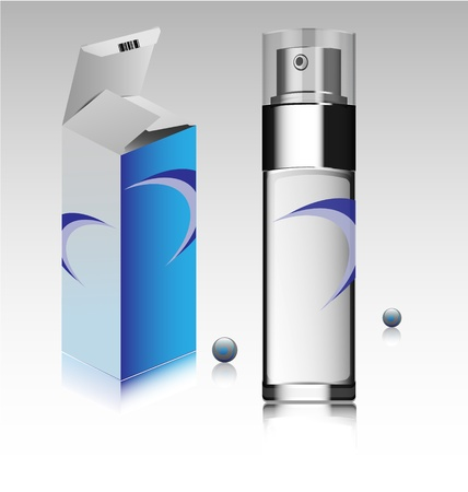 Creative design of a fragrance bottle and accompanied box Vector