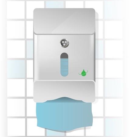 Vector illustration of a chrome paper towel dispenser Vettoriali