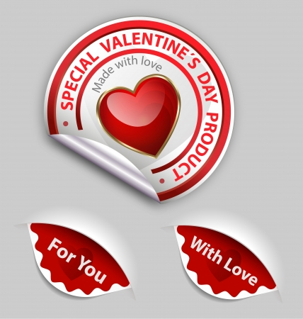 Collection of Valentines special day product labels Vector