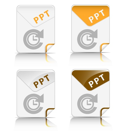 Creative and modern design 'PPT' file type icon Vector