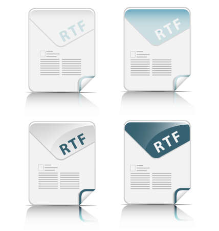 Creative and modern design RTF file type icon Stock Vector - 17474798