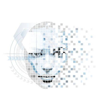 Abstract kunstwerk in high-tech stijl gemaakt met de illustrator gereedschap Stockfoto - 17680275
