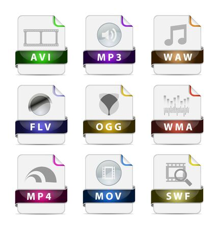 Creative design and modern presentation multimedia file type icon collection Stock Vector - 17953635