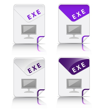 Creative and modern design EXE file type icon Stock Vector - 18026918