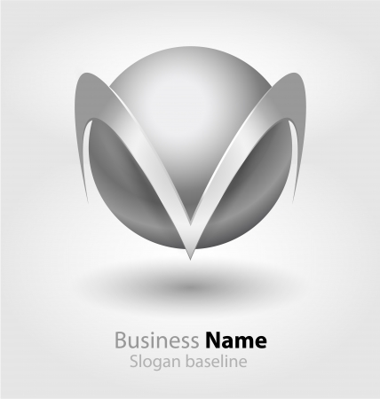 Originally designed abstract glossy 3D logo Illustration
