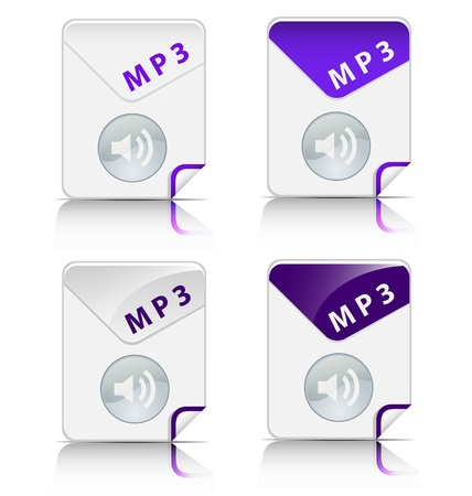 Creative and modern design MP3 file type icon Vector
