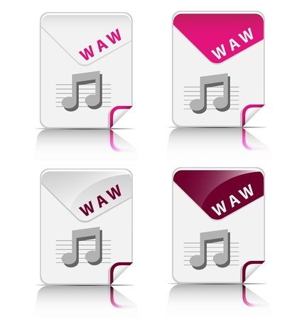 Creative and modern design WAW file type icon Stock Vector - 18216907