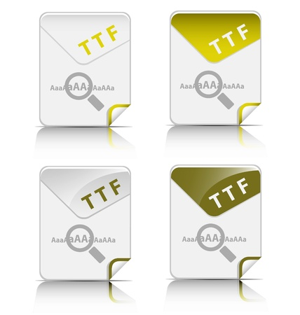Creative and modern design TTF file type icon Vector