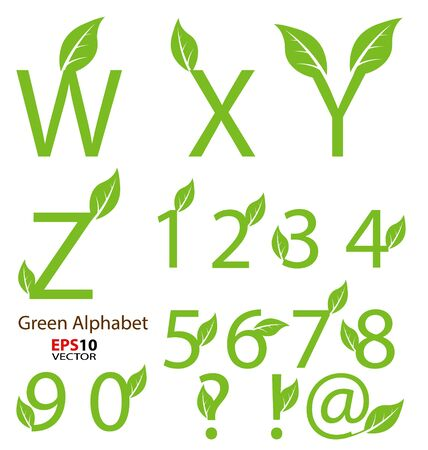 Creative design of eco-related decorative alphabet for multipurpose use Vector