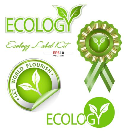 Design of ecology-related graphic element kit