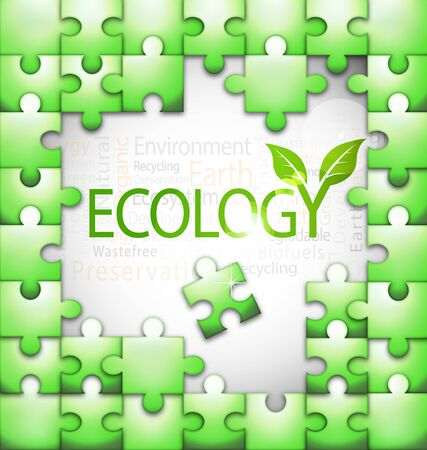 Design of ecology-related tag cloud puzzle vector illustration Stock Vector - 18628086