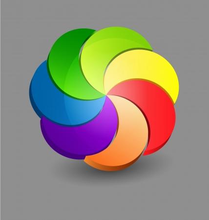 Originally designed abstract glossy 3D chromatic logo