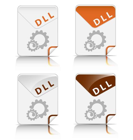 Creative and modern design DLL file type icon Vector