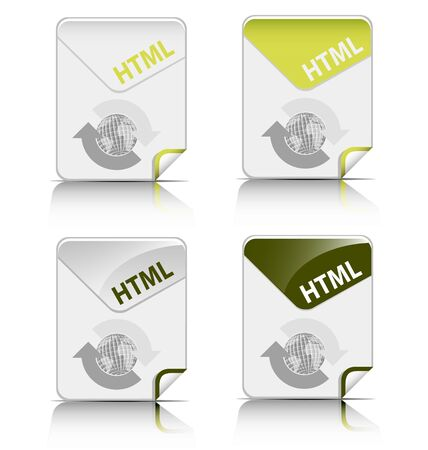 Creative and modern design HTML file type icon Stock Vector - 19369383