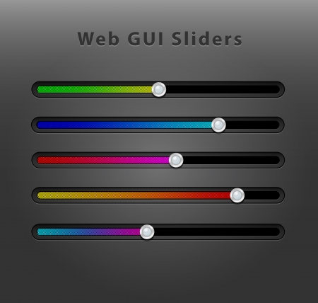 Creative design of dynamic web interface sliders easily to be recolored and manipulated