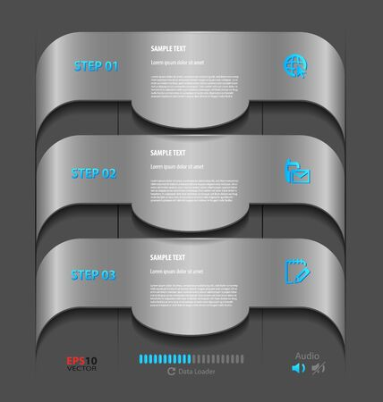 Stylized presentation,option template with empty text boxes and embellishment Vector