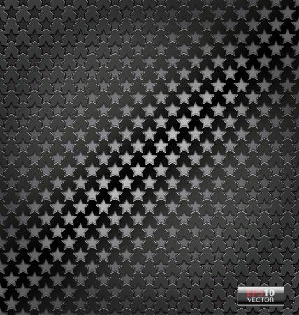 fibra de carbono: Ejemplo creativo de la Lite din�mico de fondo vector estrella del metal Vectores