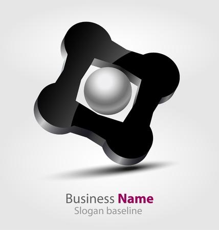 Oorspronkelijk ontworpen abstracte glanzende 3D-logo Stockfoto - 19978399
