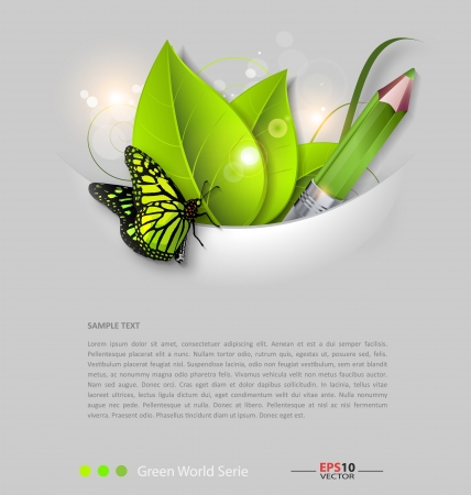 Design of a fresh leaves vector background template Vettoriali