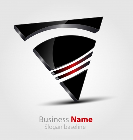 Originalmente dise?ado abstracto brillante logo 3D Logos