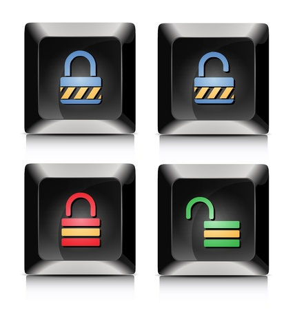 Elegant black lock and unlock application buttons Stock Vector - 20901687