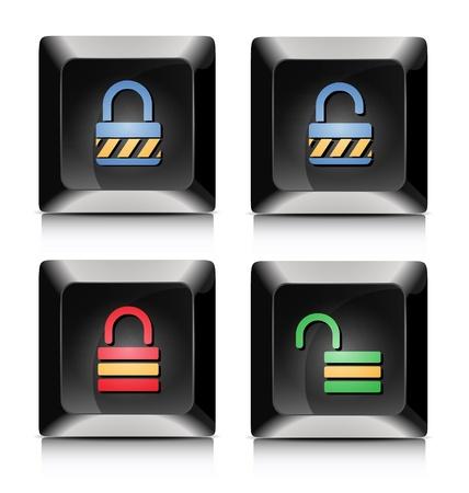 Elegant black lock and unlock application buttons Stock Vector - 20901687