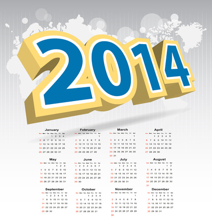 New year 2014 calendar for multipurpose design needs