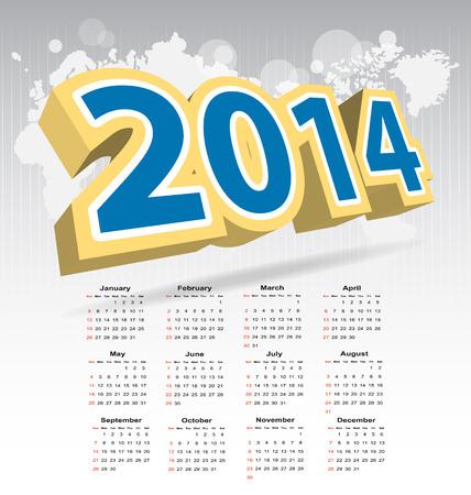 New year 2014 calendar for multipurpose design needs