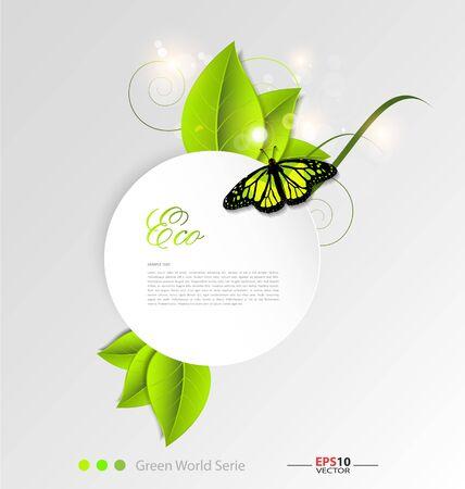 r image: Sfondo di foglie verdi di ecologia per le esigenze di design creativo Vettoriali