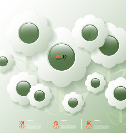 halfone:  Stylized infographic template with flower bubbles for data communication