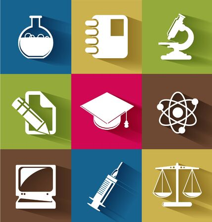 Set of science and education flat icons for creative needs