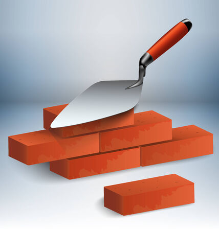 Trowel with a couple of bricks vector illustration
