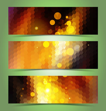 Mosaic gradient geometric banner set for creative design Vector