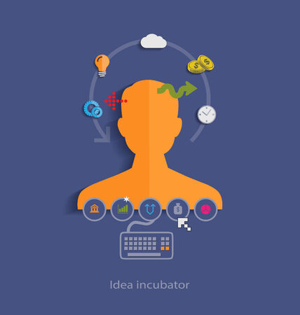 Idea incubator flat design concept icons for web, programming,mobile phone applications & services Illustration