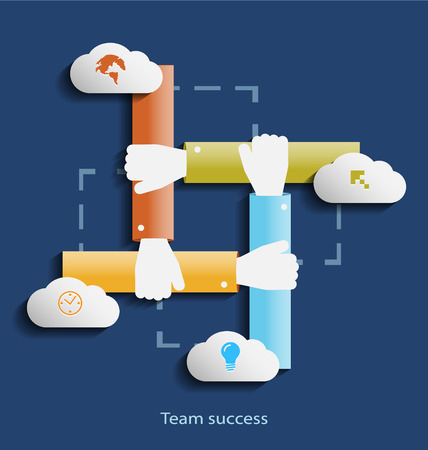 team success: Team success flat design concept icons for web, programming,mobile phone applications & services Illustration