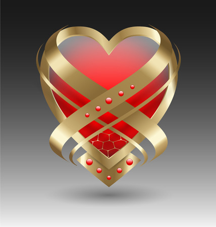 Elegant metallic heart embleme with embellishment for creative design Illustration