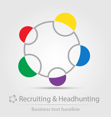 headhunting: Recruiting and headhunting business icon for creative design