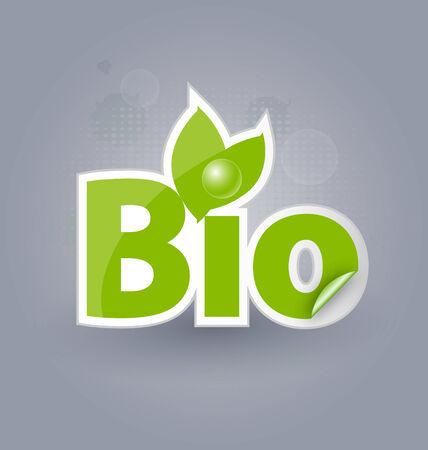 Bio background with selfadhesive bio sticker for creative design Vector