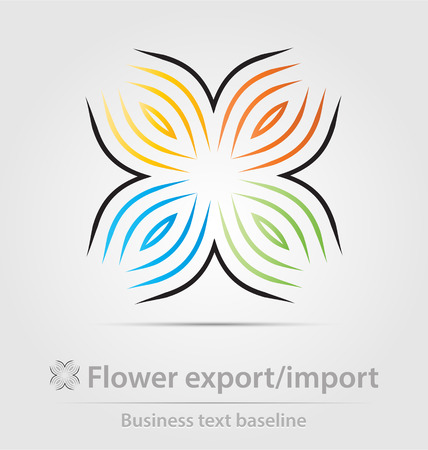 export import: Flower export,import business icon for creative design Illustration